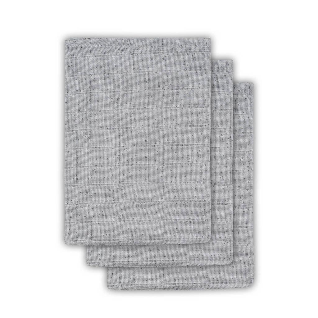 Jollein Mini dots hydrofiele washandjes 15x20 cm mist grey - set van 3, Grijs