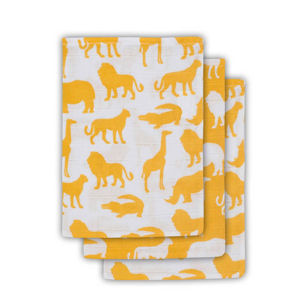 Jollein Safari hydrofiele washandjes 15x20 cm ocher - set van 3, Oker