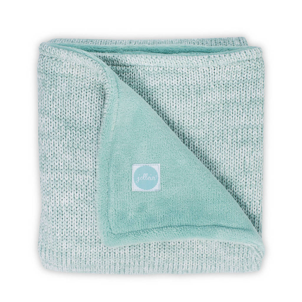 Jollein Melange knit ledikantdeken 100x150 cm soft green, Groen