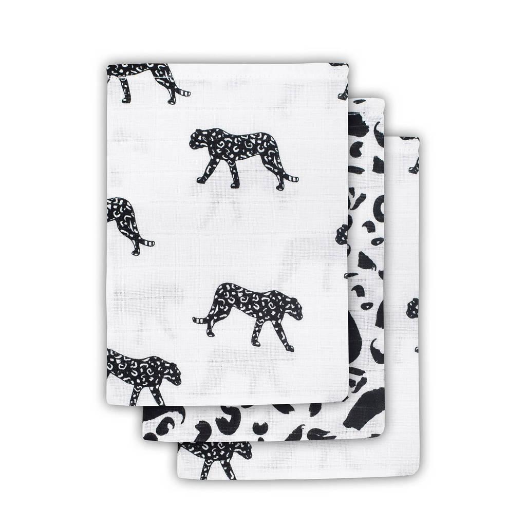 Jollein Leopard hydrofiele washandjes 15x20 cm - set van 3, Zwart/wit