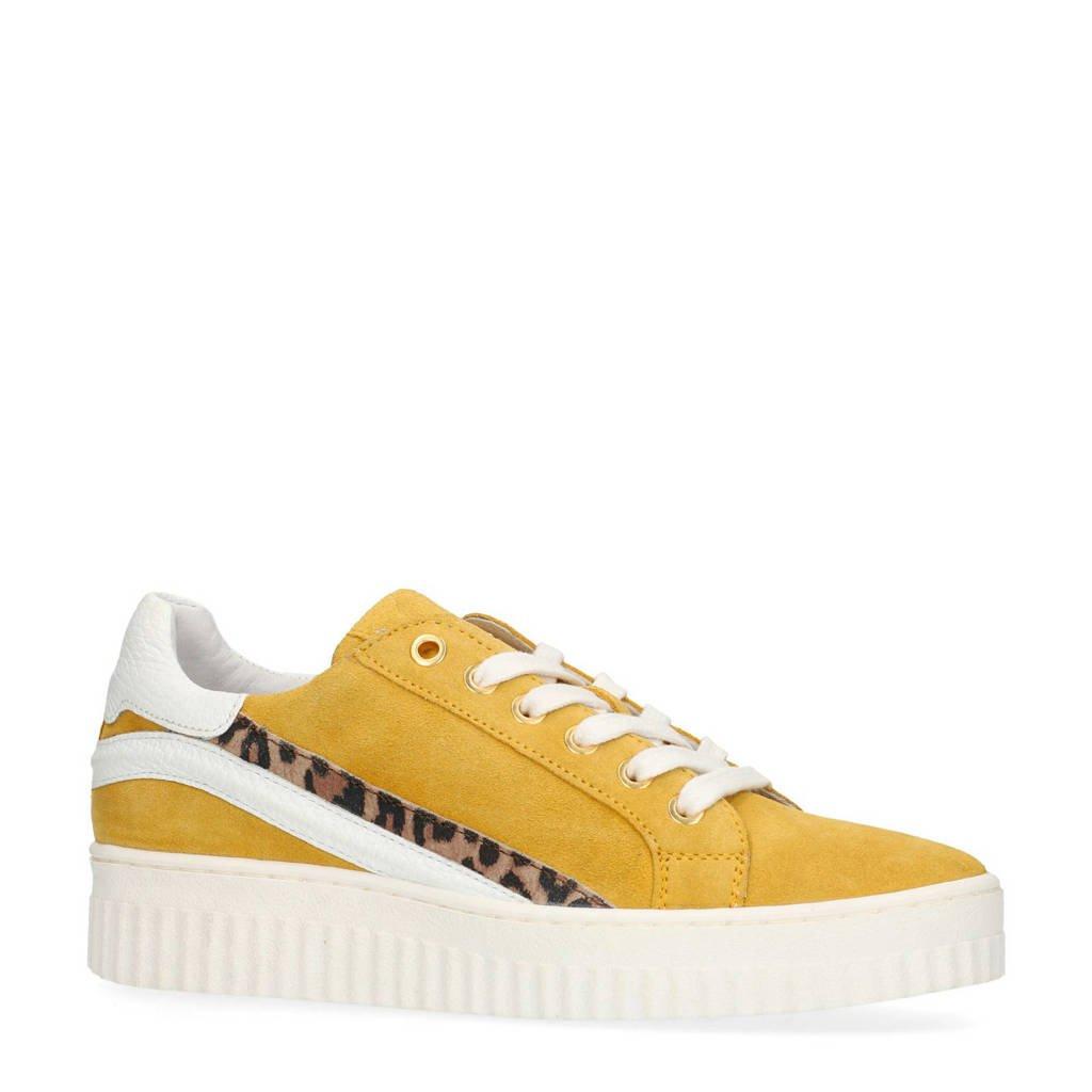 Manfield  suède platform sneakers geel, Geel
