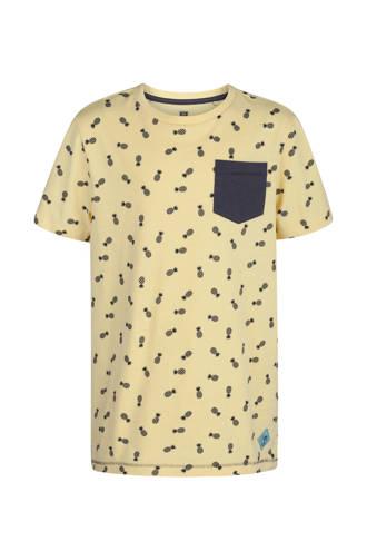 T-shirt met ananassen geel
