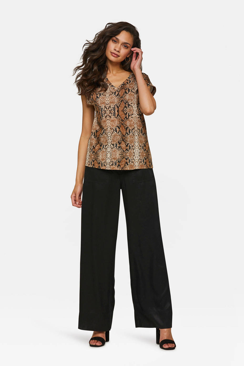 04bf535b21a WE Fashion T-shirt met slangenprint bruin | wehkamp