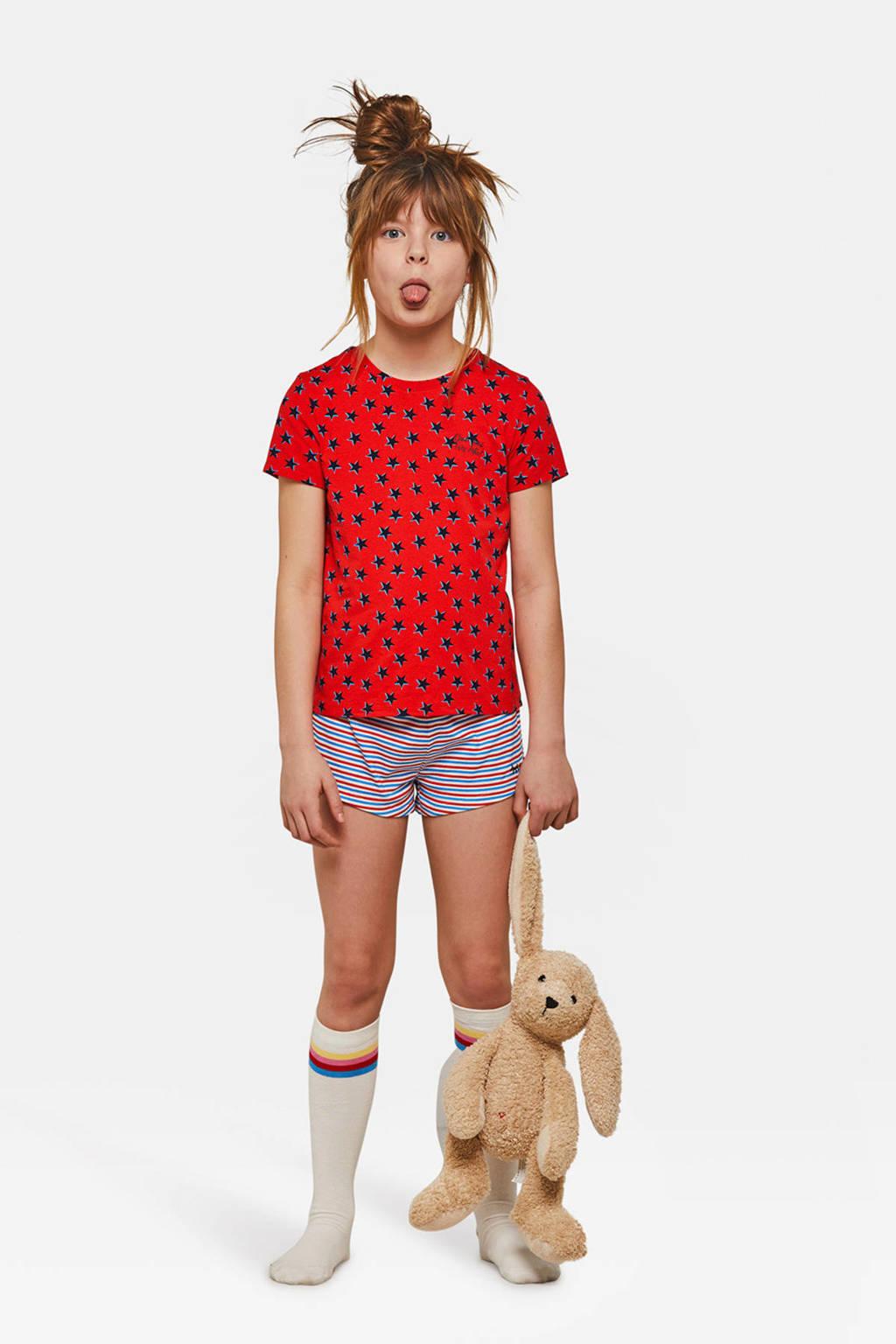 WE Fashion shortama met sterren rood, Rood/blauw