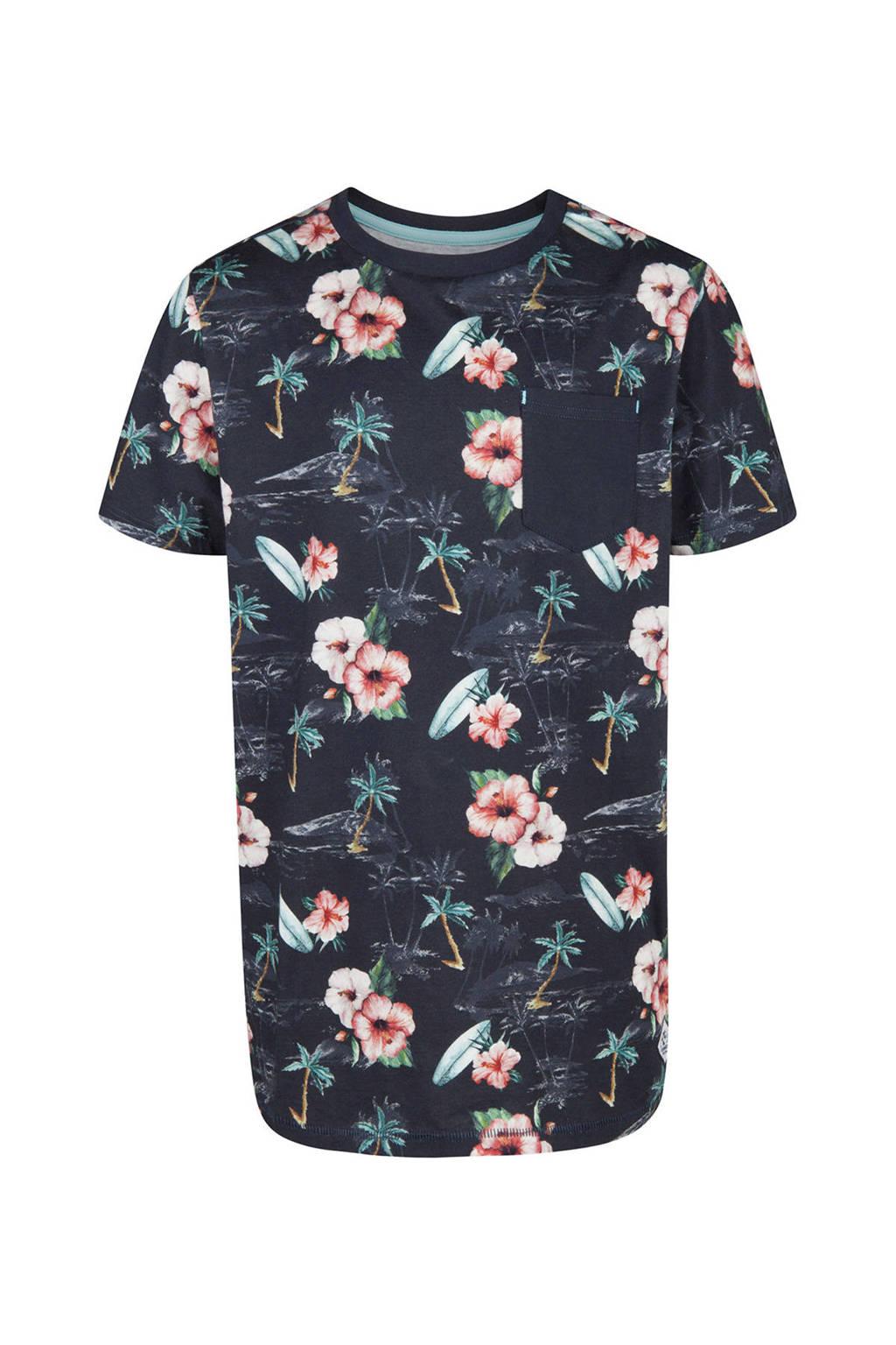 WE Fashion gebloemd T-shirt blauw, Donkerblauw/roze/wit