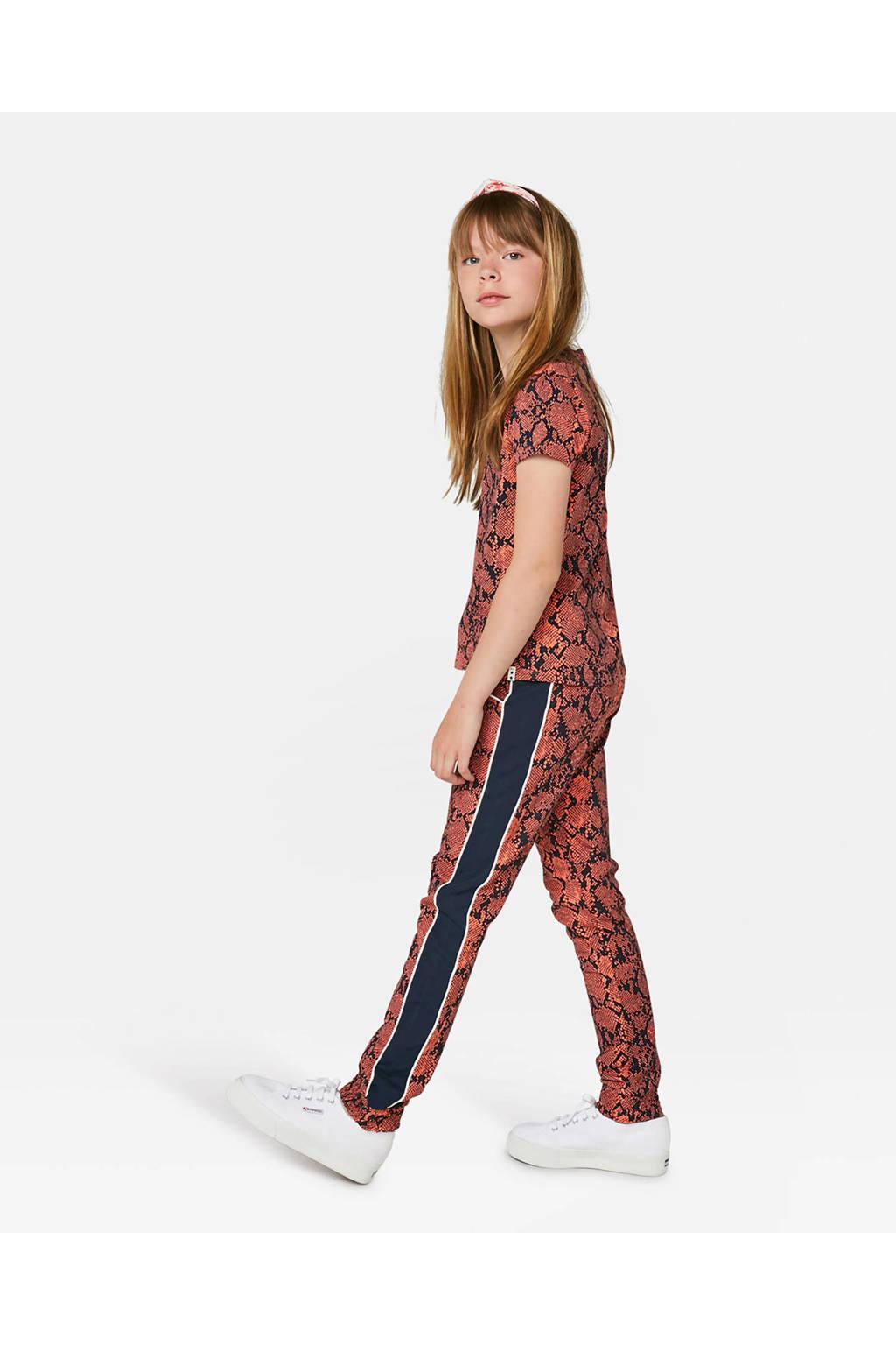 WE Fashion broek met zijstreep oranje/zwart, Oranje/zwart