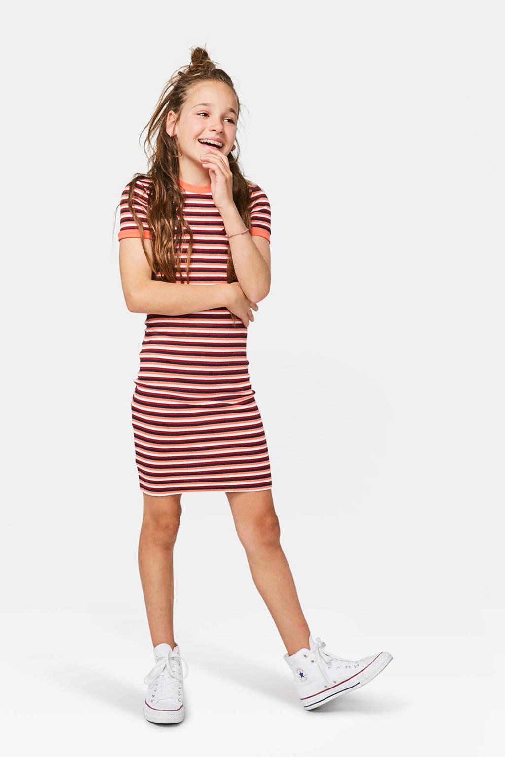 WE Fashion gestreepte jurk, Oranje/rood/wit