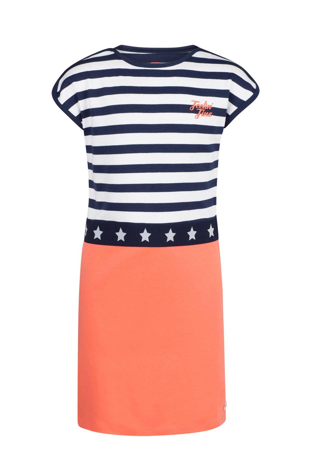 WE Fashion jurk met strepen, Donkerblauw/wit/oranje
