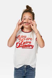 WE Fashion T-shirt met tekst wit/rood, Wit/rood