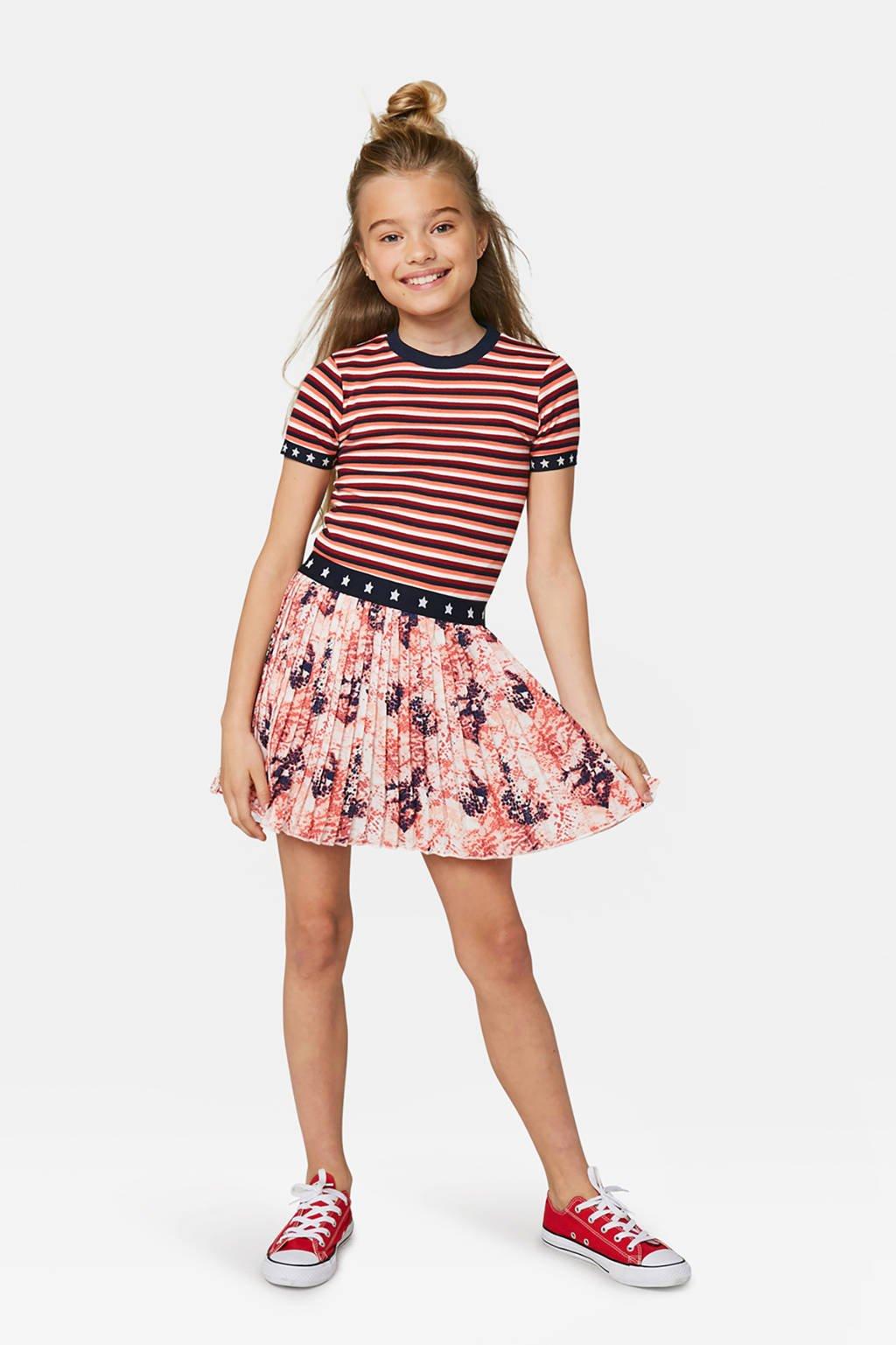 WE Fashion gestreept T-shirt oranje/rood/wit/donkerblauw, Oranje/rood/wit/donkerblauw