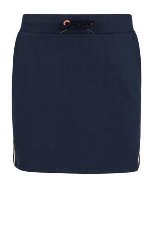 rok met contrastbies donkerblauw