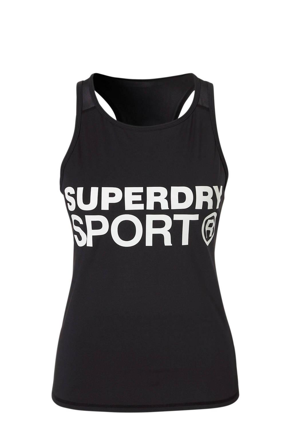 Superdry Sport sport T-shirt met printopdruk zwart, Zwart