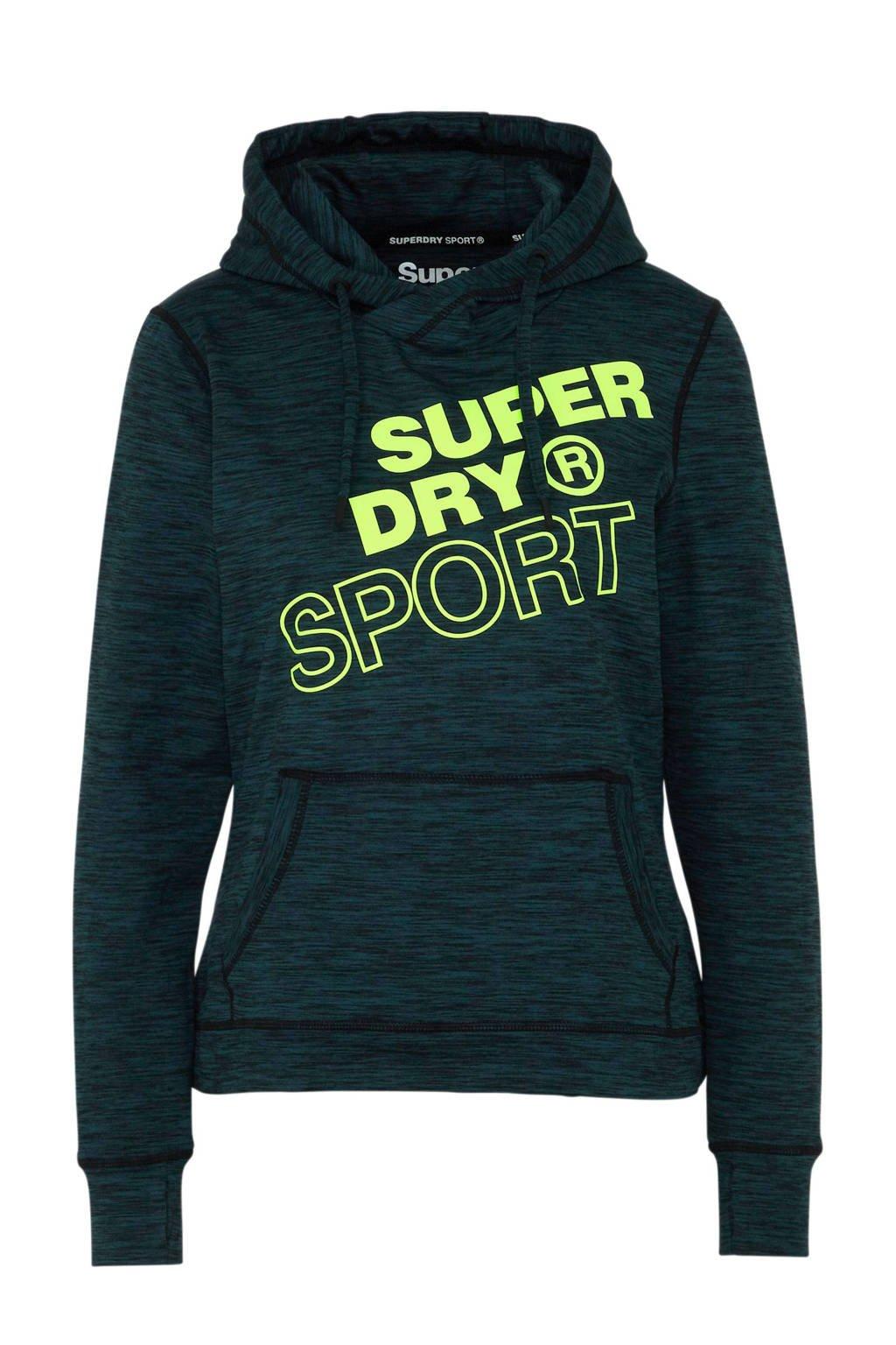 Superdry Sport sportsweater zwart, Donkergroen/zwart