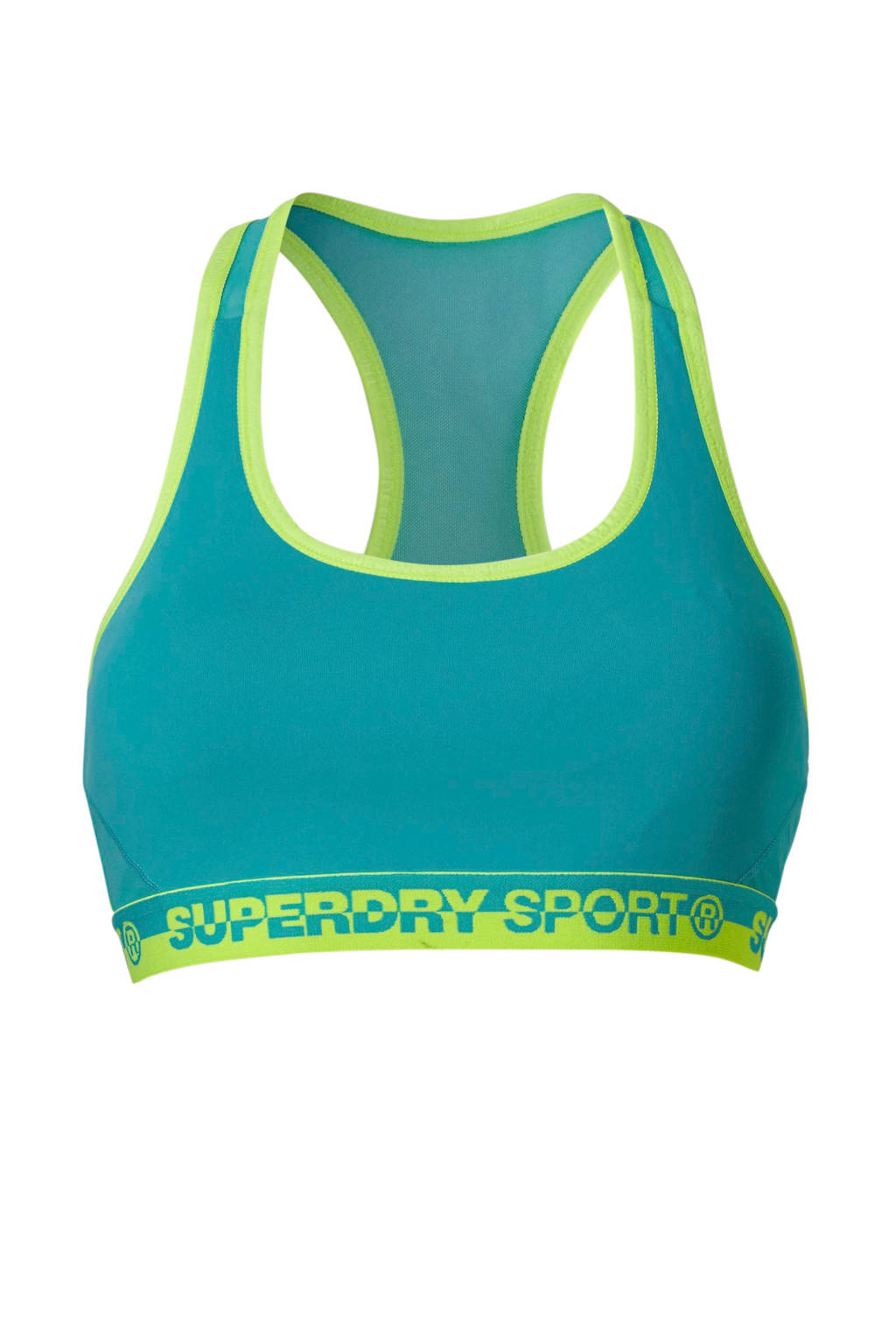 Superdry Sport Level 2 sportbh turquoise, Turquoise/limegroen