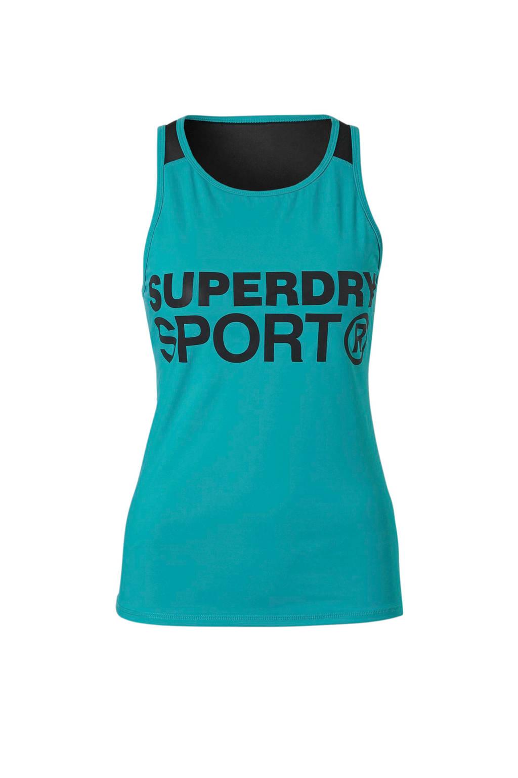 Superdry Sport sport T-shirt met printopdruk turquoise, Turquoise