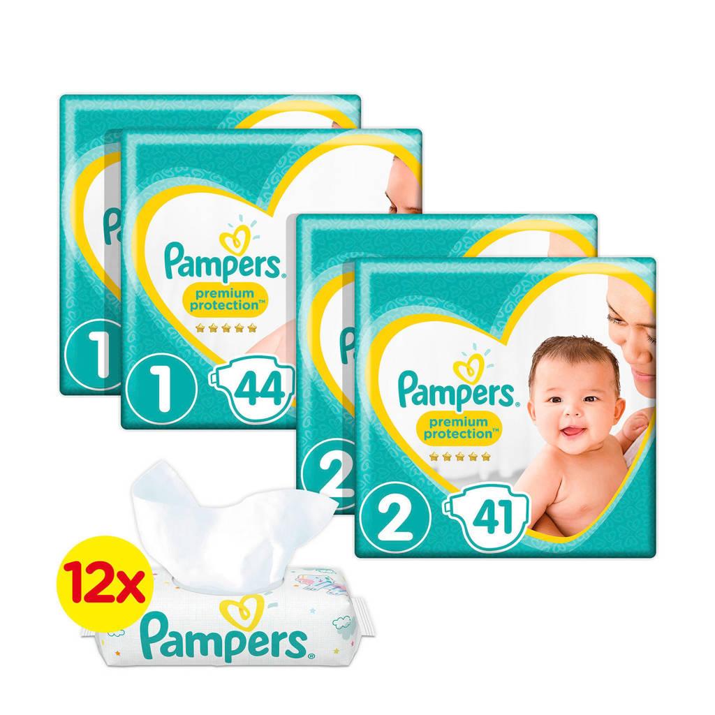 Pampers Premium Protection starterspakket maat 1+2 (2-8 kg) 170 luiers + Sensitive 12 x 56 babydoekjes
