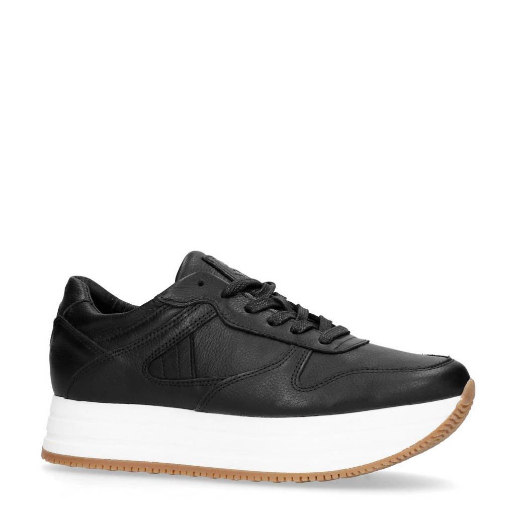 Sacha  leren platform sneakers zwart, Zwart