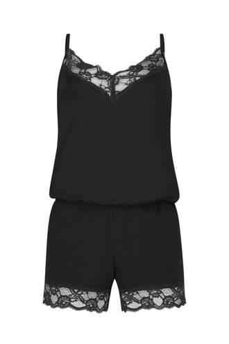 shortama Jersey met kant zwart