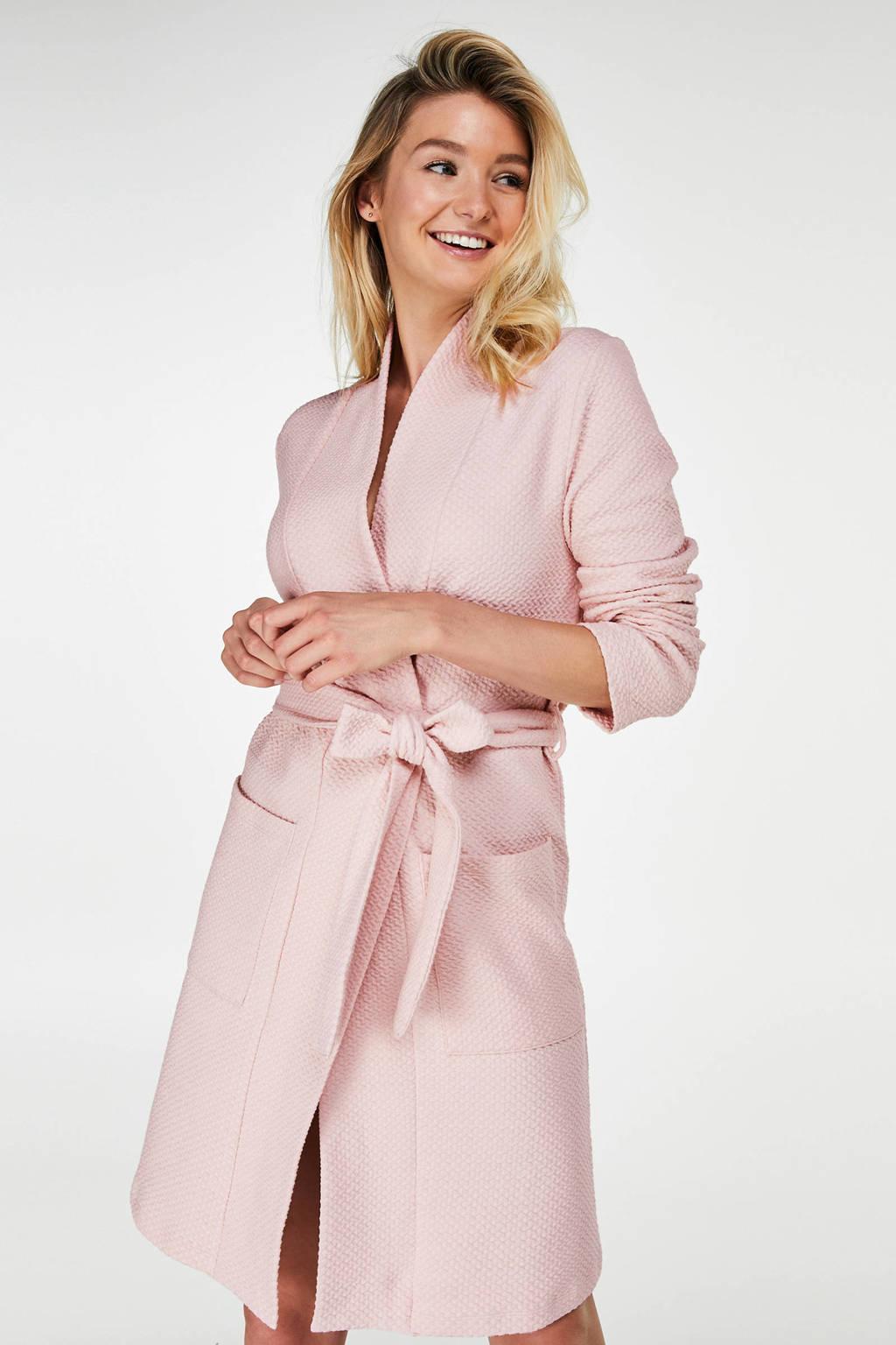 Casual jersey badjas roze, Roze