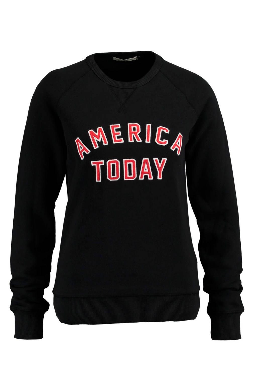 America Today sweater met tekst zwart, Zwart