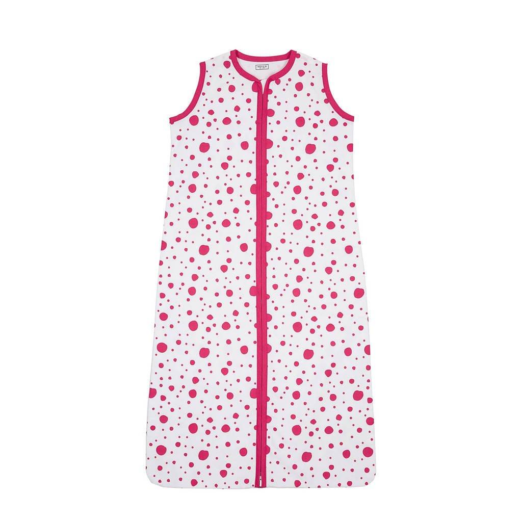 Meyco Dots baby slaapzak zomer 90 cm bright pink, Roze