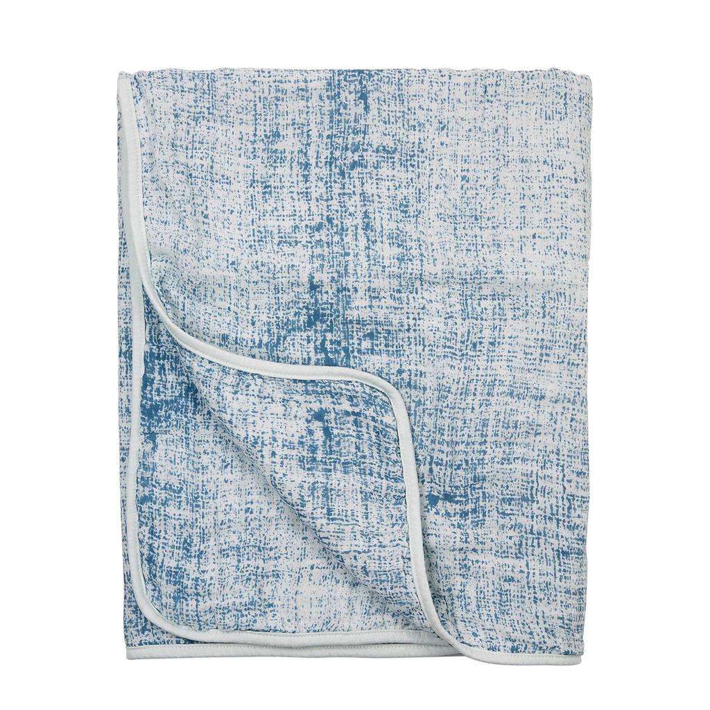 Meyco Fine lines hydrofiele deken 120x120 cm blauw, Blauw