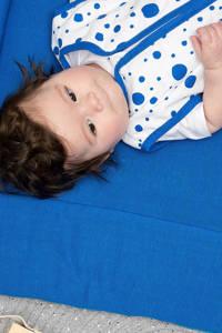 Meyco Dots baby slaapzak zomer 90 cm bright blue, Blauw