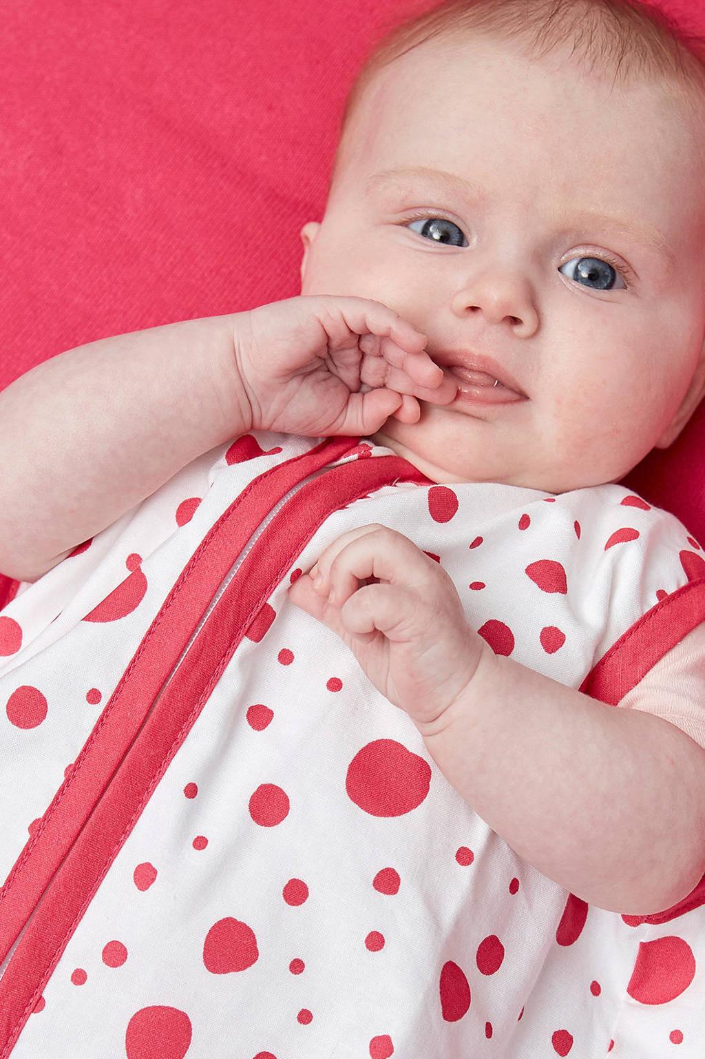 Meyco Dots baby slaapzak zomer 110 cm bright pink, Roze