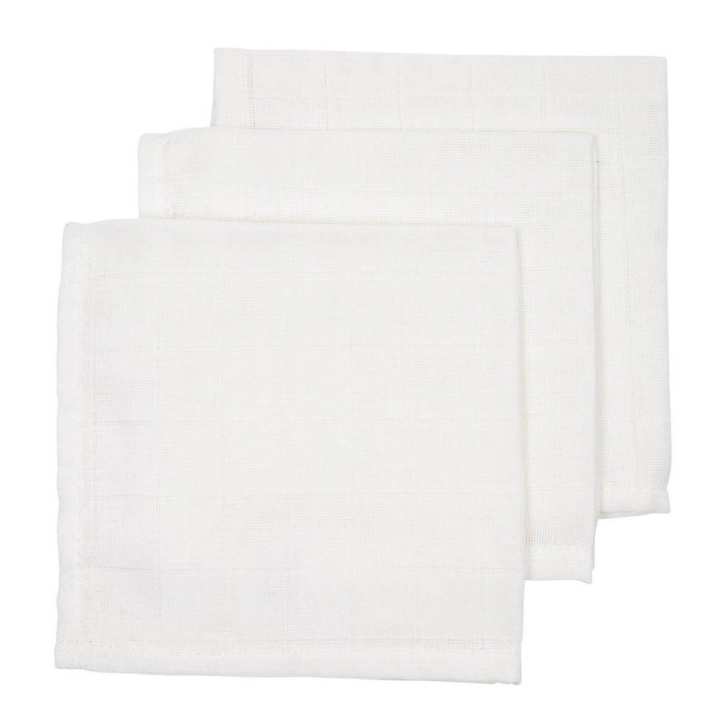 Meyco hydrofiele monddoekjes (set van 3) 30x30 cm uni wit, Wit