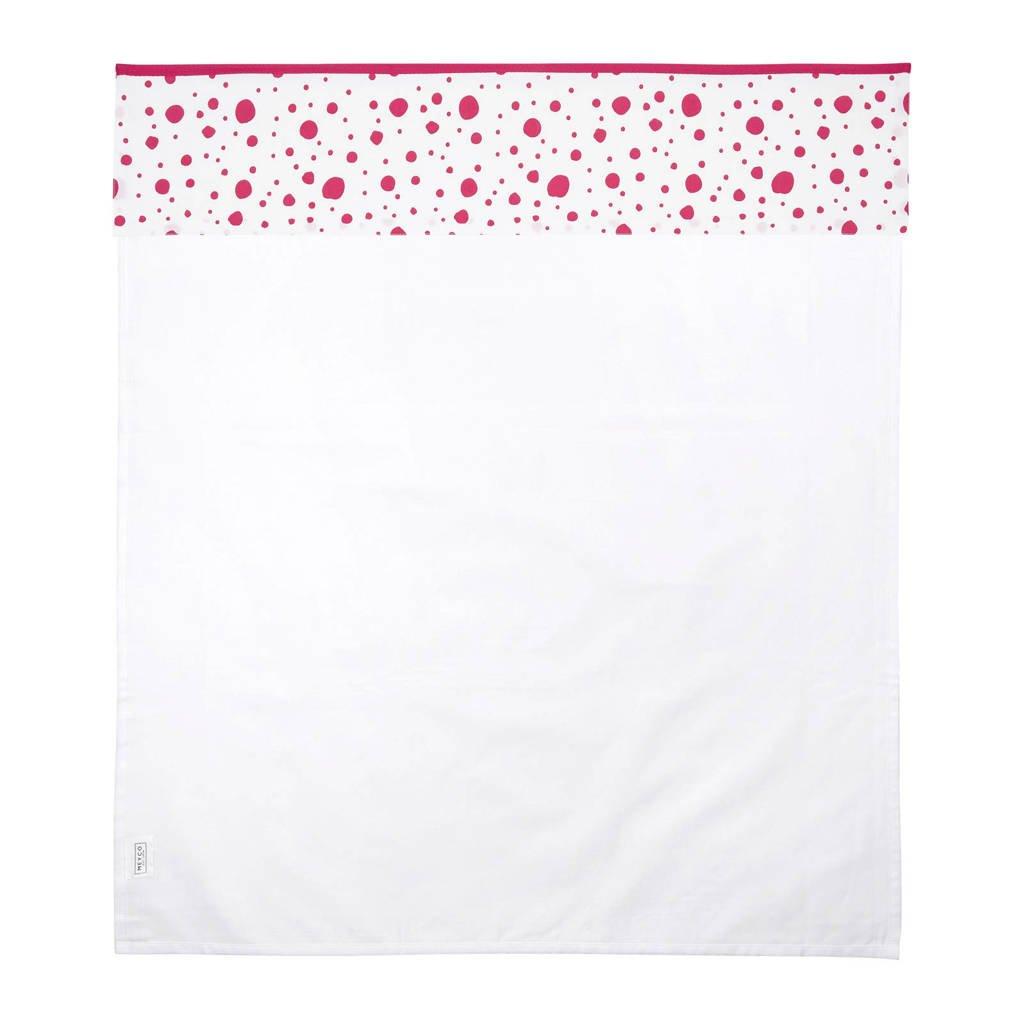 Meyco Dots ledikantlaken 100x150 cm roze, Roze/wit
