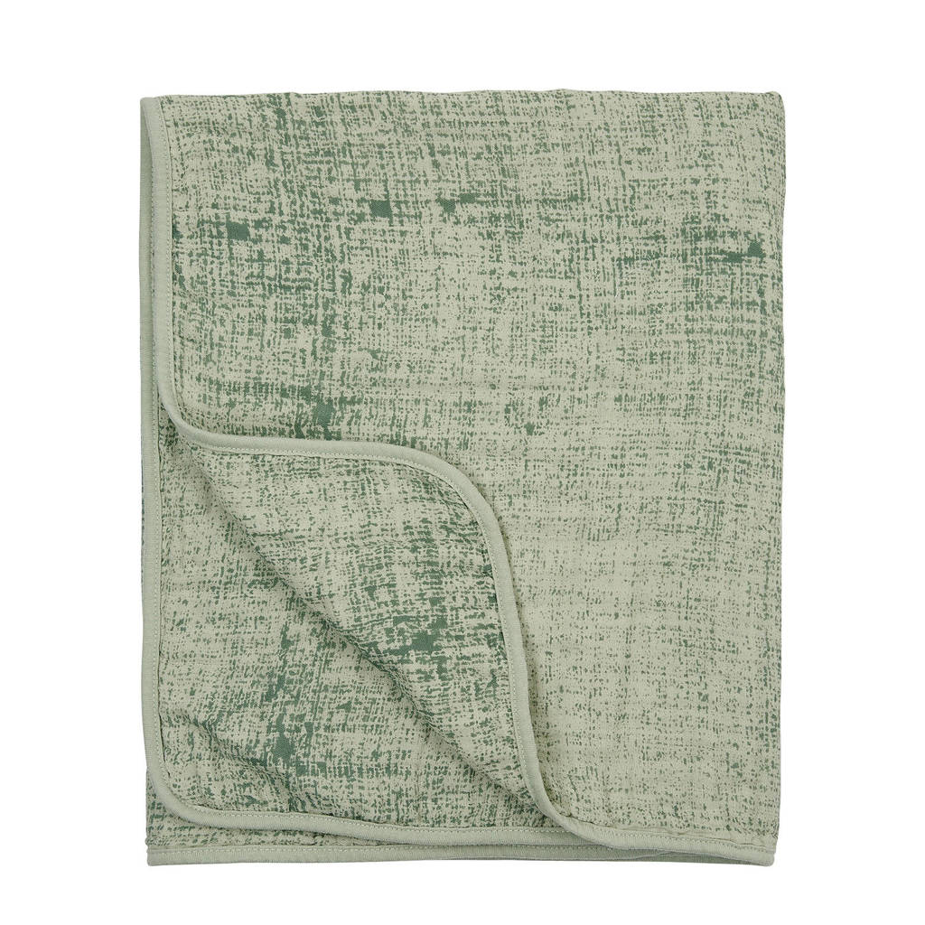 Meyco Fine lines hydrofiele wiegdeken 75x100 cm groen, Groen