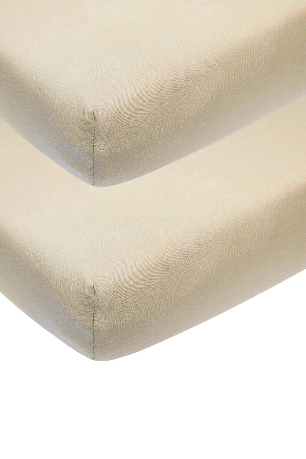 Meyco katoenen jersey hoeslaken wieg 40x80/90 cm (set van 2) Zand