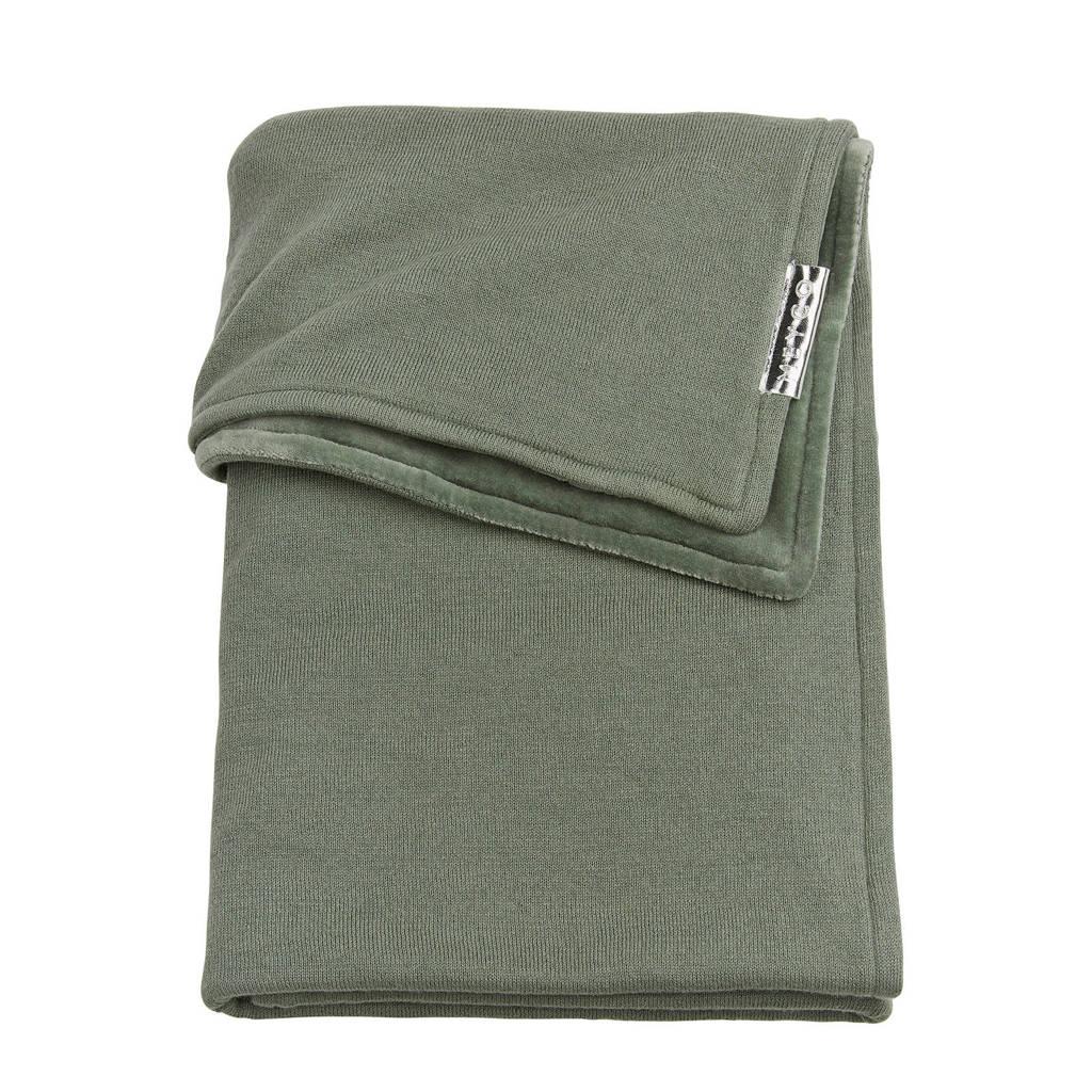 Meyco Knit Basic ledikantdeken met velours 100x150 cm forrest green, FORREST GREEN