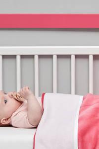 Meyco Knit Basic baby ledikantdeken met velours 100x150 cm bright pink, Bright Pink