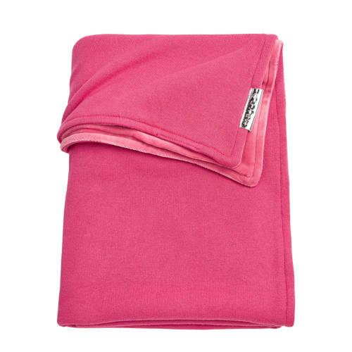 Meyco Knit Basic ledikantdeken met velours 100x150 cm bright pink kopen
