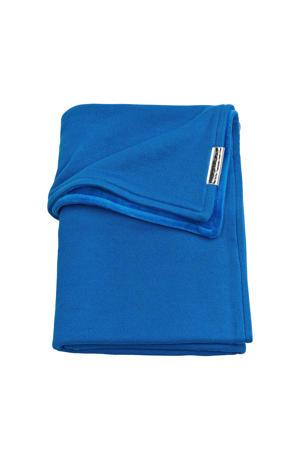 Knit Basic baby wiegdeken met velours 75x100 cm bright blue
