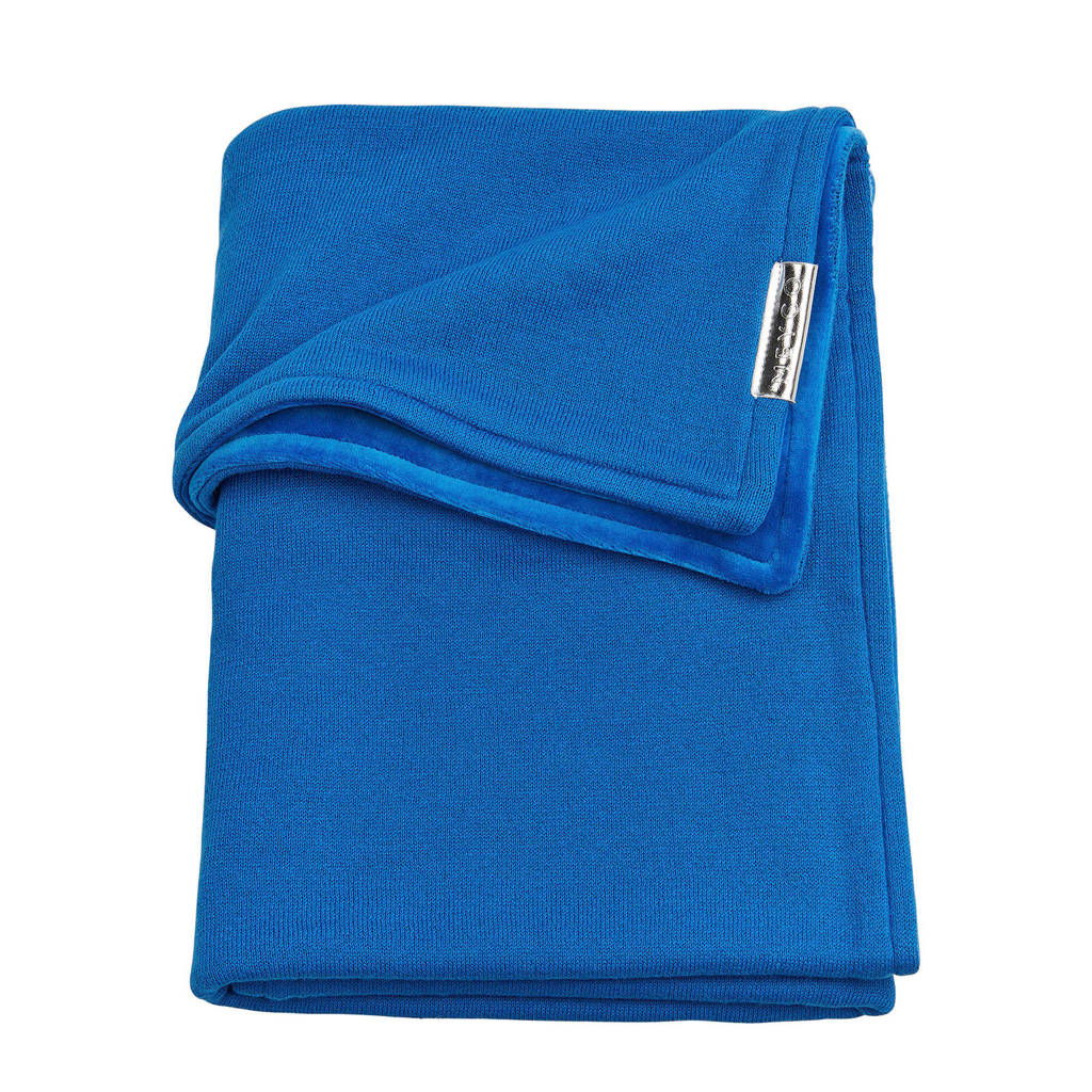 Meyco Knit Basic wiegdeken met velours 75x100 cm bright blue, Bright Blue