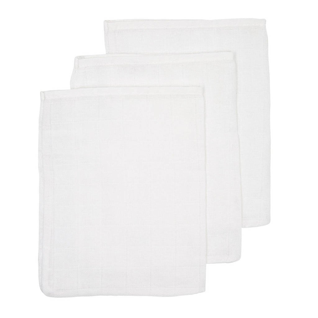 Meyco hydrofiele washandjes (set van 3) uni wit, Wit