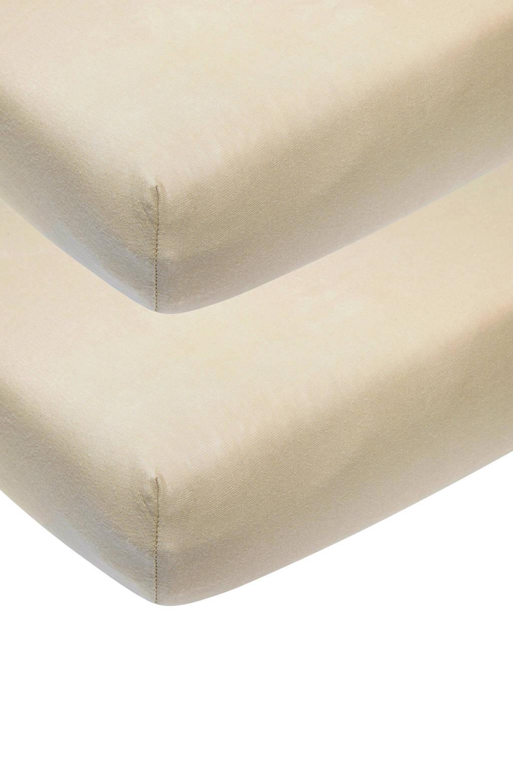 Meyco katoenen jersey hoeslaken peuterbed 70x140/150 cm (set van 2) Zand