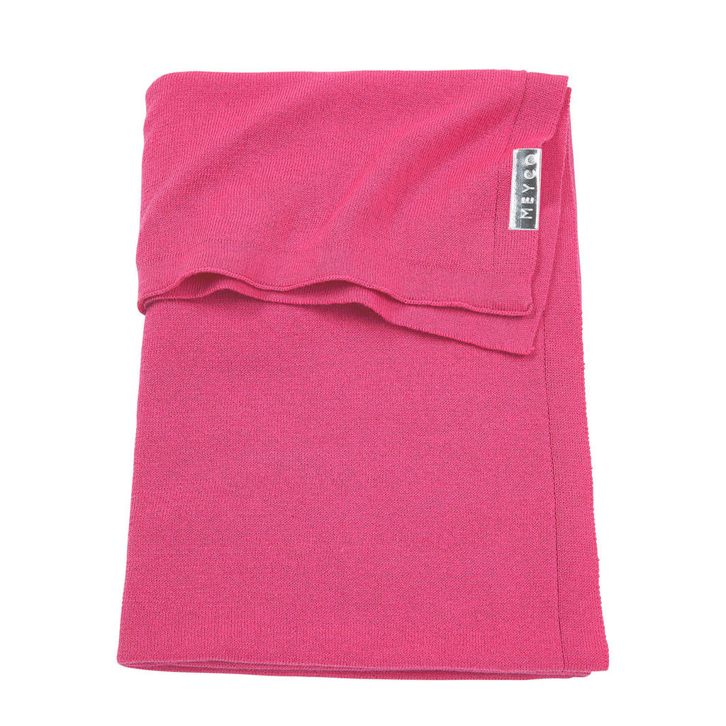 Meyco Knit Basic baby ledikantdeken 100x150 cm bright pink, Bright Blue