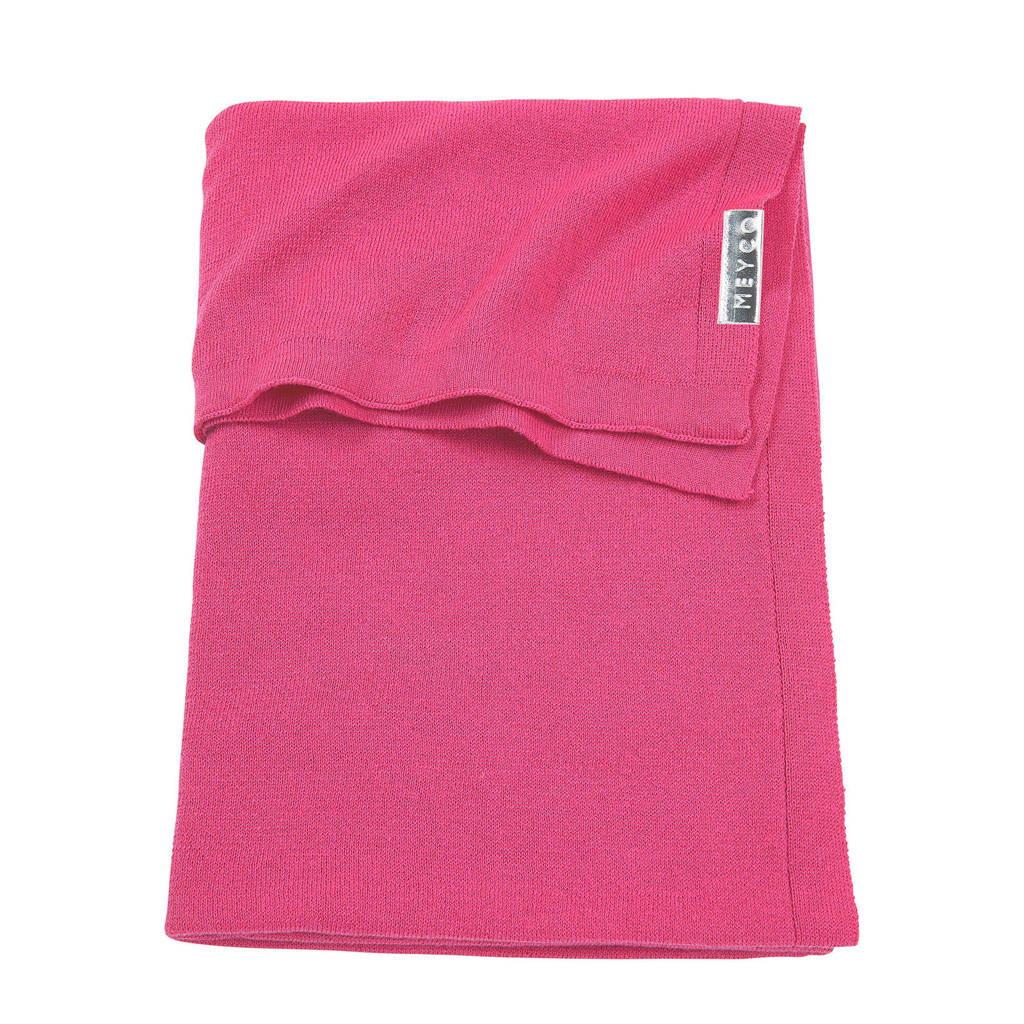 Meyco Knit Basic baby wiegdeken 75x100 cm bright pink, Bright Pink