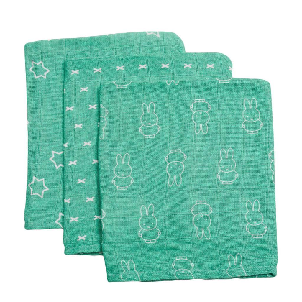 nijntje hydrofiel washandje Smile - set van 3, Groen