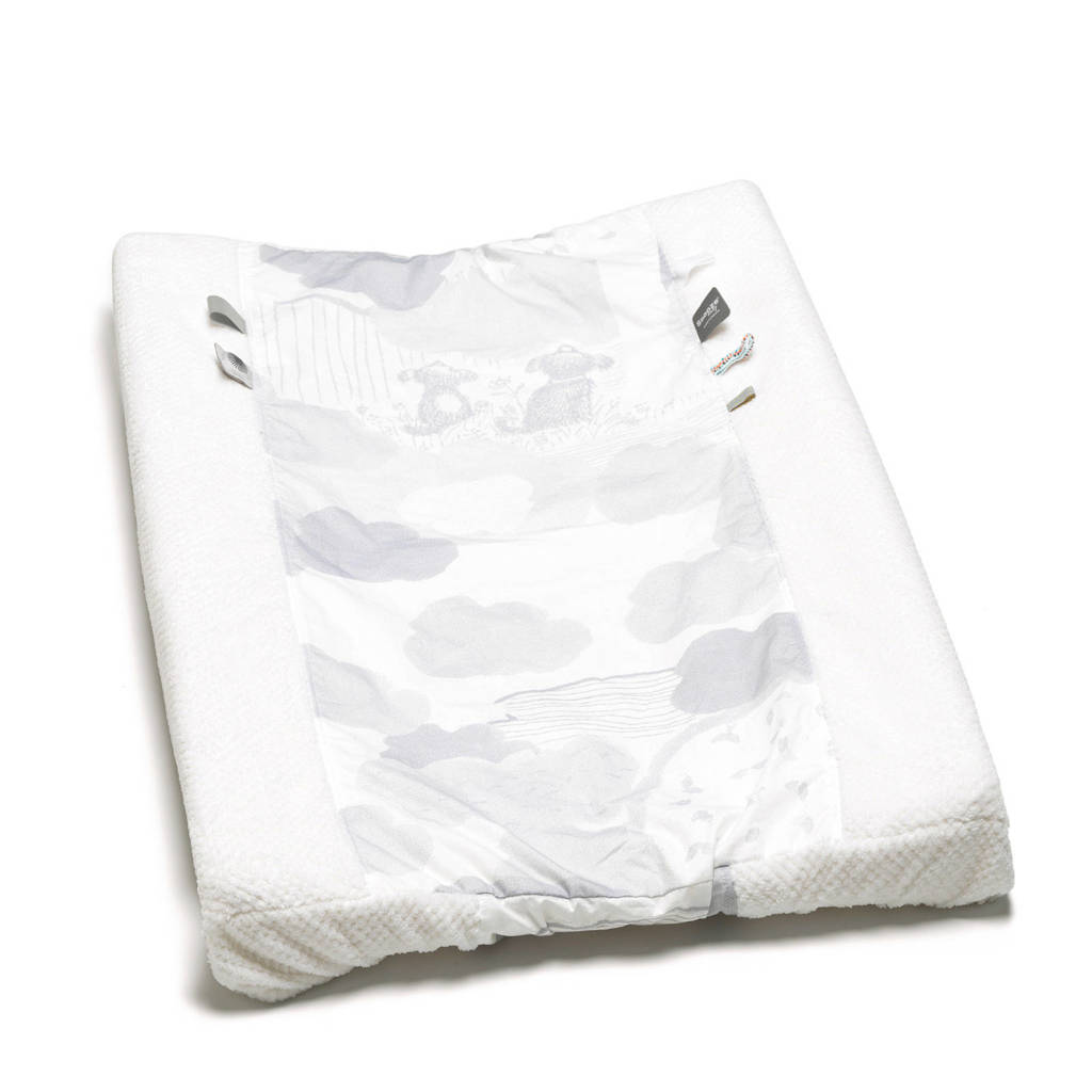 Snoozebaby aankleedkussenhoes 75x45 cm wit/lichtgrijs, Wit/lichtgrijs