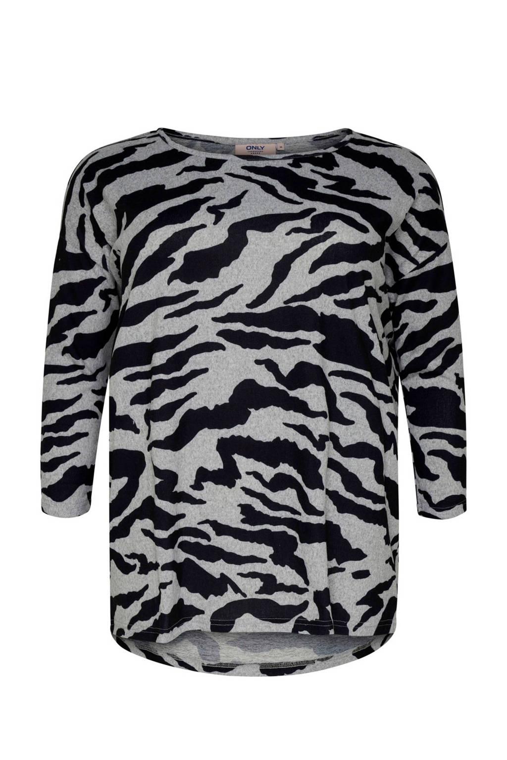 ONLY carmakoma T-shirt met zebraprint, Grijs/zwart