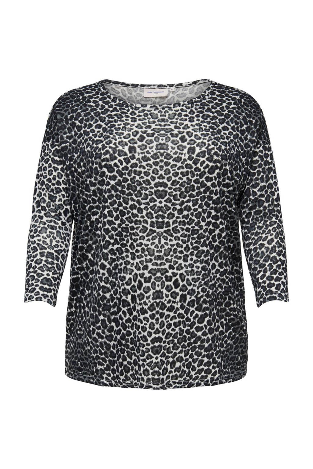 ONLY carmakoma T-shirt met panterprint, Grijs/wit/zwart