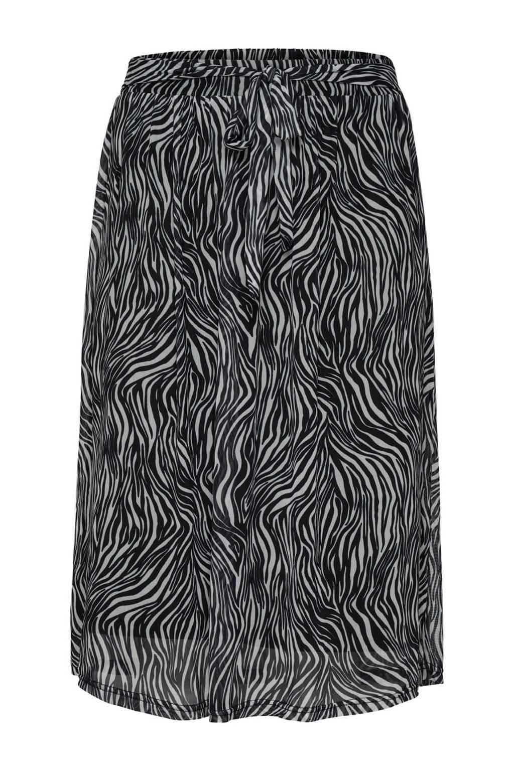 ONLY carmakoma rok met zebraprint, Zwart/wit