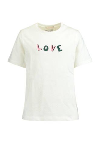 gestipt T-shirt Lana met tekst ecru