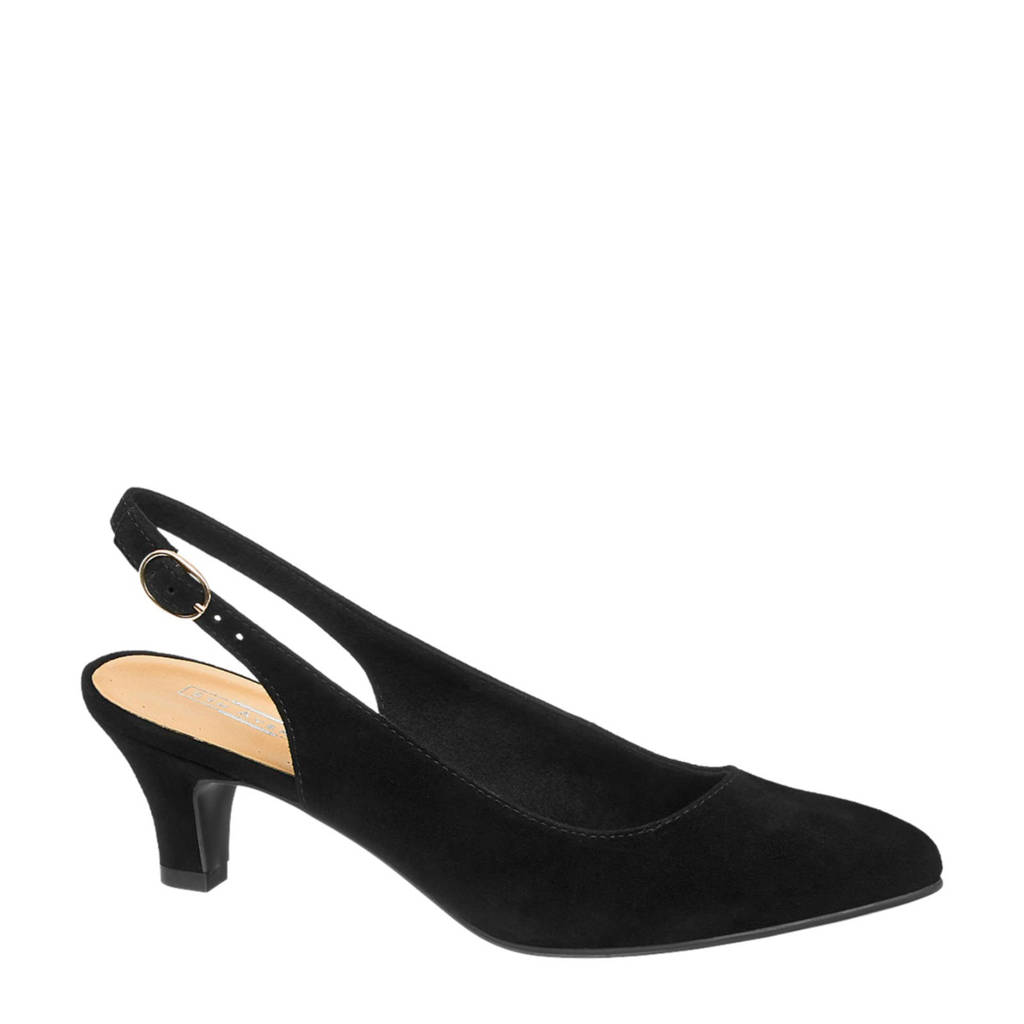5th Avenue suède slingback pumps zwart, Zwart