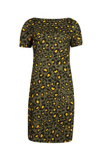 jurk met luipaardprint groen