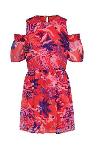 KIDSONLY open shoulder jurk Isabella met bladprint roze